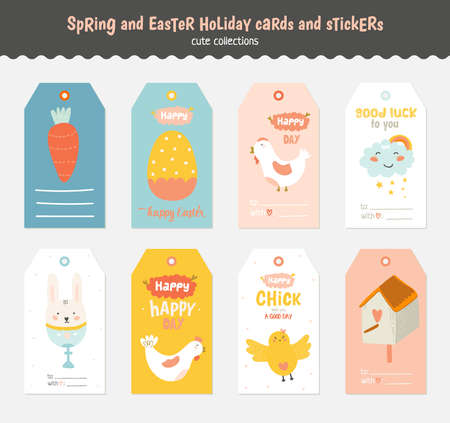 cartoon easter: Beautiful collection of Easter greeting cards, gift tags, stickers and labels templates in vector. Holiday spring and summer cartoon concept with bunny, eggs, chicks and other graphic design elements. Illustration