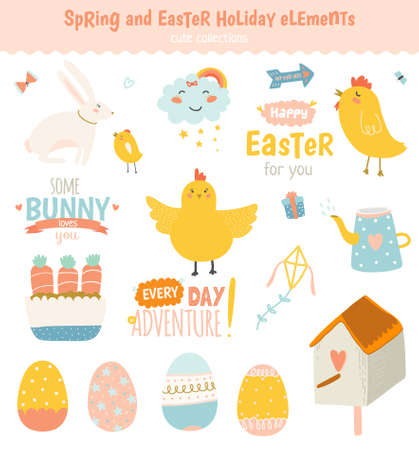 graphic elements: Happy Easter vector set in vector. Cute and funny smiling Bunny, chicken and chicks, carrot, eggs and other graphic holiday elements in stylish colors. Holidays spring and summer cartoon concept set Illustration