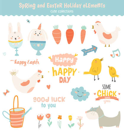 Happy Easter vector set in vector. Cute and funny smiling Bunny, chicken, carrot, flowers and other graphic holiday elements in stylish colors. Holidays spring and summer cartoon concept set