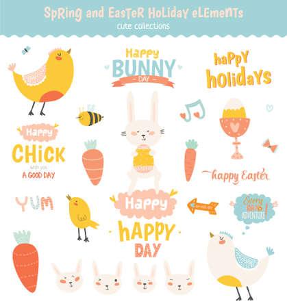 zanahoria caricatura: vector de Pascua feliz fijado en el vector. Linda y divertida de la sonrisa del conejito, pollo y polluelos, zanahoria, huevos y otros elementos gráficos de vacaciones en elegantes colores. Vacaciones de primavera y el concepto de la historieta de verano Vectores