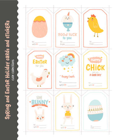 memos: Beautiful collection of Easter greeting cards, gift tags, stickers and labels templates in vector.