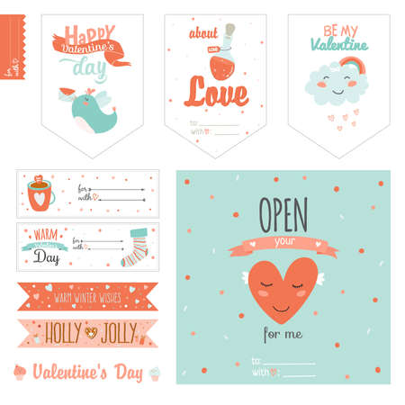 cute cards: Set of cute Valentines day gift tags and journaling cards templates.