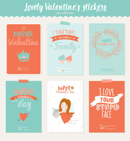 planner: Collection of 6 Valentines day gift tags and journaling cards templates. Illustration