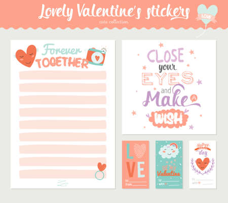wedding gift: Collection of Valentines day gift tags, stickers and labels templates. Romantic and beauty posters set. Lovely card for Valentines day, wedding, marriage, save the date, bridal. Vector illustration
