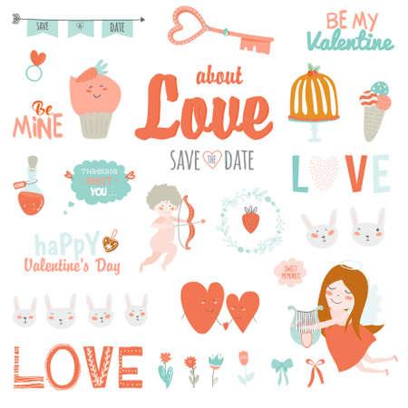 Conjunto de amor de la vendimia de San Valentín de diseño día de fiesta elementos. Ilustración de vector