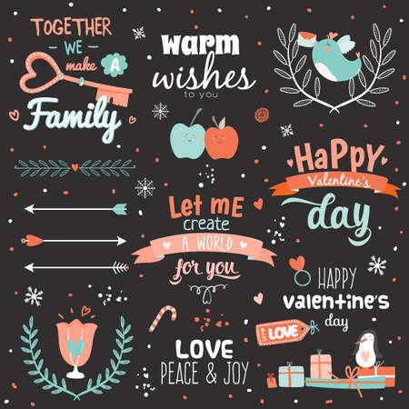handwritten: Valentines day calligraphic card template