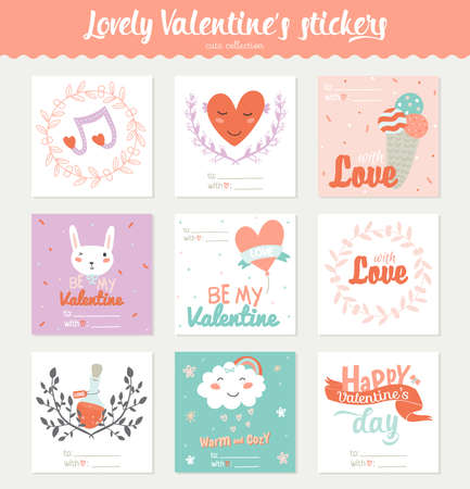 wedding gift: Set of 9 square Valentines day gift tags, stickers and labels templates. Romantic and beauty posters set. Lovely card for Valentines day, wedding, marriage, save the date, bridal. Vector illustration