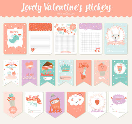 day planner: Collection of Valentines day gift tags, stickers and labels templates.