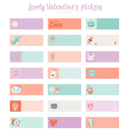 planner: Collection of Valentines day gift tags, stickers and labels templates.