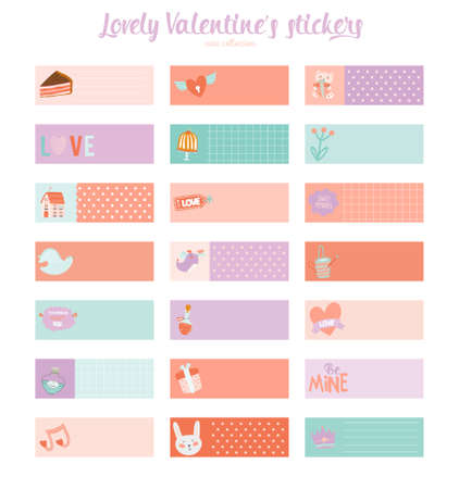 planner: Collection of Valentines day gift tags, stickers and labels templates. Romantic and beauty posters set. Lovely card for Valentines day, wedding, marriage, save the date, bridal. Vector illustration