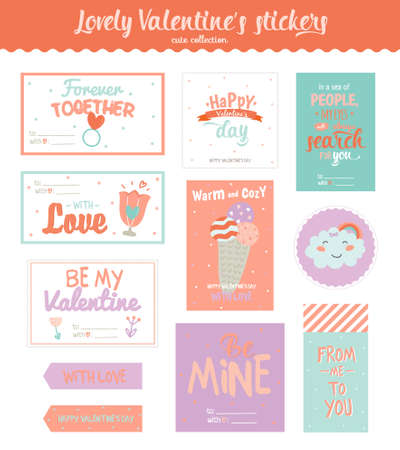 wedding gift: Collection of Valentines day gift tags, stickers and labels templates and modern lovely holidays elements with romantic phrase in vector. Valentines day, wedding, marriage, save the date, bridal.