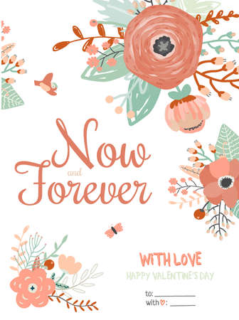 beautifull: Valentines day greeting card with calligraphy and beautifull flowers. Illustration with love. Vector 3x4 card for Valentines day, wedding, marriage, save the date, bridal Illustration