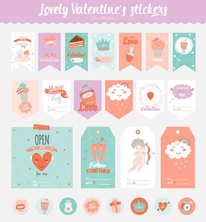 Colección de etiquetas de San Valentín día de regalo, pegatinas y etiquetas de plantillas y elementos modernos preciosos días de fiesta con la caligrafía manuscrita. dibujados a mano elementos de diseño Ilustración de vector