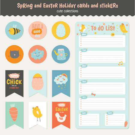Beautiful collection of Easter greeting cards, gift tags, stickers and labels templates in vector. Holiday spring and summer cartoon concept with bunny, eggs, chicks and other graphic design elements. Illustration