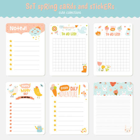 chick: Beautiful collection of Easter greeting cards, gift tags, stickers and labels templates in vector. Holiday spring and summer cartoon concept with bunny, eggs, chicks and other graphic design elements. Illustration