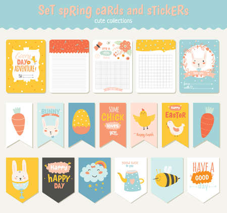 diary: Beautiful collection of Easter greeting cards, gift tags, stickers and labels templates in vector. Holiday spring and summer cartoon concept with bunny, eggs, chicks and other graphic design elements. Illustration