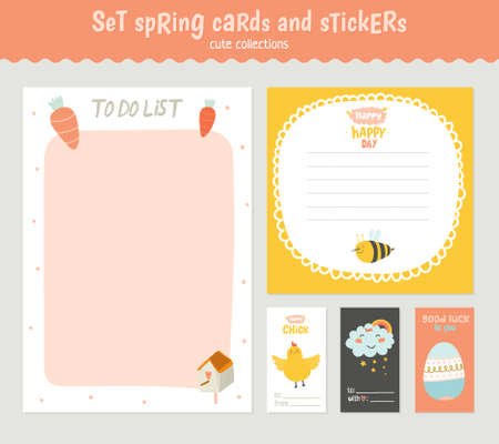 cute: Beautiful collection of Easter greeting cards, gift tags, stickers and labels templates in vector. Holiday spring and summer cartoon concept with bunny, eggs, chicks and other graphic design elements. Illustration