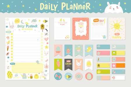 Cute Calendar Daily Planner Template for 2016. Beautiful Diary with Character and Funny Kids Illustrations. Spring Season Holidays Backgrounds. Organizer and Schedule with place for Notes  イラスト・ベクター素材