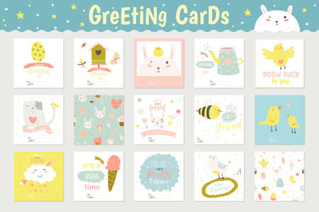 memos: Cute square cards, notes and stickers with spring and summer illustrations. Can be used like poster or greeting holiday cards. Holidays spring and summer cartoon template collection