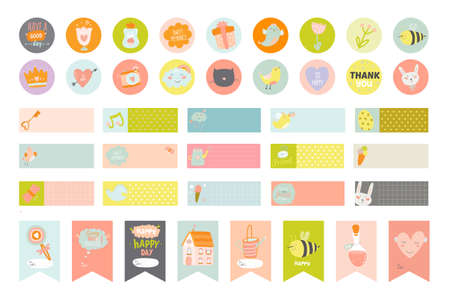 Cute cards and stickers for planners and notebooks. Beautiful Diary with Vector templates with spring and summer illustrations. Holidays cartoon collection. Organizer and Schedule with place for Notes Vectores
