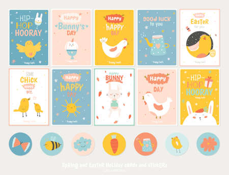 chicken and egg: Beautiful collection of Easter greeting cards, gift tags, stickers and labels templates in vector. Holiday spring and summer cartoon concept with bunny, eggs, chicks and other graphic design elements. Illustration
