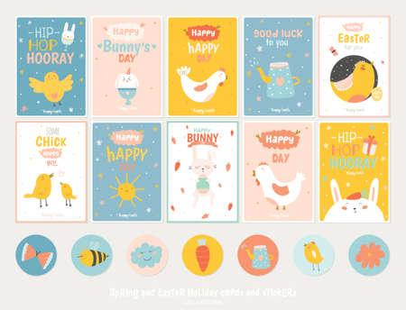 Bella colección de tarjetas de felicitación de Pascua, etiquetas de regalo, pegatinas y plantillas de etiquetas en el vector. Vacaciones de primavera y verano concepto de dibujos animados con conejo, huevos, pollos y otros elementos de diseño gráfico. Ilustración de vector