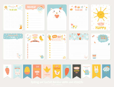 Big Set of Romantic and Cute Vector Cards, Notes, Stickers, Labels, Tags with Spring Illustrations and Wishes. Template for Greeting Scrap booking, Congratulations, Invitations. Vertical Card Design  イラスト・ベクター素材
