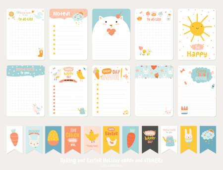 로맨틱하고 귀여운 벡터 카드의 큰 설정, 메모, 봄 삽화와 소원과 스티커, 라벨, 태그. 인사말 스크랩 예약, 축하, 초대장 템플릿입니다. 수직 카드 디자