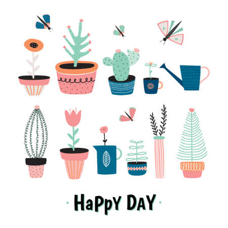cute house: Set of cute house plants in pots, hand drawing in scandinavian style. Colorful botanical set.