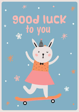 Cute card with funny Bunny girl hand drawing in Scandinavian style. Isolated on white background. Good for birthdays cards, childish posters, calendars, stickers for boys and girls.