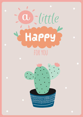 planners: Cute card with house plants in pot, hand drawing in scandinavian style. Colorful botanical poster. Good for stickers, planners, cards, invitations, scrapbooking Illustration