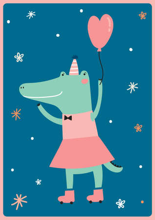 cartoon crocodile: Cute card with funny Crocodile girl hand drawing in scandinavian style. Isolated on white background in vector. Good for birthdays cards, childish posters, calendars, stickers for boys and girls.