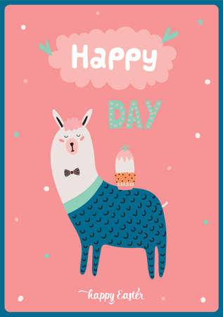 scandinavian people: Cute card with funny Lama boy hand drawing in scandinavian style. Isolated on white background in vector. Good for birthdays cards, childish posters, calendars, stickers for boys and girls.