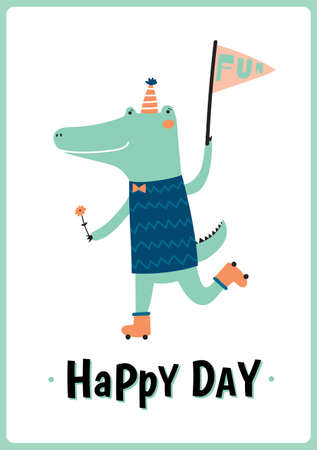 rollers: Cute card with funny Crocodile boy hand drawing in scandinavian style. Isolated on white background. Good for birthdays cards, childish posters, calendars, stickers for boys and girls.