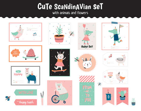 cute graphic: Cute scandinavian set of greeting cards, gift tags, stickers and labels templates with funny animals and flowers. Holiday spring and summer modern concept with spring graphic design elements