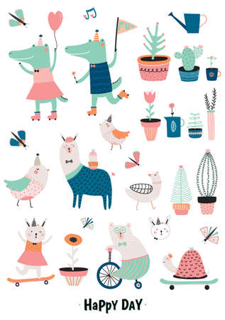 귀여운 재미 동물과 꽃 세트 흰색 배경에 고립입니다. 포스터, 스티커, 카드, 노트북 및 기타 아이 게임 및 액세서리에 적합합니다. 악어, 토끼, 거위,