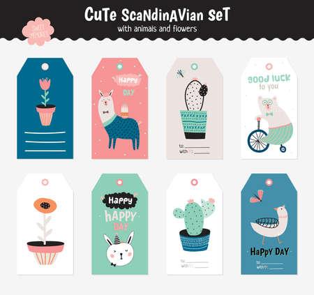 Leuke Scandinavische set van wenskaarten, cadeau-tags, stickers en etiketten sjablonen met grappige dieren en bloemen in vector. Vakantie voorjaar en de zomer modern concept met veer grafisch ontwerp elementen