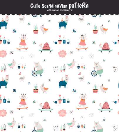 Cute scandinavian seamless pattern on white background in vector. Trendy illustration with funny animals and flowers. Good for birthdays cards, childish posters, calendars, stickers for boys and girls Vectores