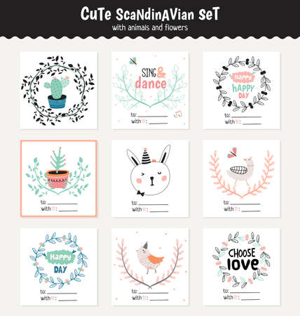 child birthday: Cute scandinavian set of greeting cards, gift tags, stickers and labels templates with funny animals and flowers in vector. Holiday spring and summer modern concept with spring graphic design elements