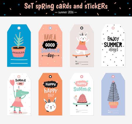 Leuke zomer Scandinavische Set van wenskaarten, Cadeaukaartjes, Stickers en Etiketten Templates met Trandy Summer Elements in vector. Holiday Summer Modern Concept met Graphic Design Elements Vector Illustratie