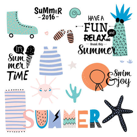 freehand: Cute Summer Design Scandinavian Set of Trandy Holiday Summer Elements. Summer Typographic. Vector. Isolated. White Background. Trandy Summer Concept.