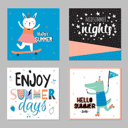 placards: Cute Hello Summer Cards with Trendy Summer Elements. Summer Typographic. Scandinavian Style. Vector. White Background. Good for Greeting Cards, Gift Tags, Stickers, Placards and Labels Templates. Illustration