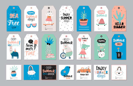 Cute Summer Scandinavian Set of Greeting Cards, Gift Tags, Stickers and Labels Templates with Trandy Summer Elements in vector. Holiday Summer Modern Concept with Graphic Design Elements