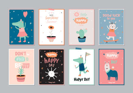 Cute scandinavian set of greeting cards, gift tags, stickers and labels templates with funny animals and flowers in vector. Holiday spring and summer modern concept with spring graphic design elements