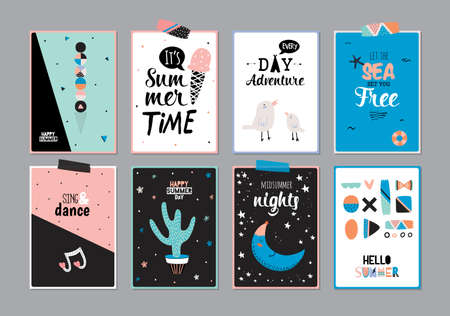 Cute Hello Summer Square Posters with Trendy Summer Elements. Summer Typographic. Scandinavian Style. Vector. Isolated. Good for Greeting Cards, Gift Tags, Stickers, Placards and Labels Templates.