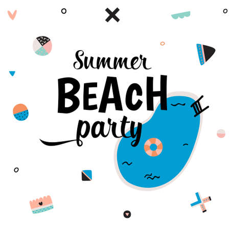 placards: Cute Hello Summer Art Poster with Trandy Summer Elements. Summer Typographic. Scandinavian Style. Vector. White Background. Good for Greeting Cards, Gift Tags, Stickers, Placards and Labels Templates. Illustration