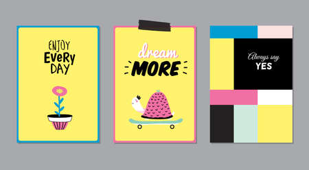 placards: Cute Posters with Trendy Animal Elements. Quote Typographic. Scandinavian Style. Vector. Isolated. Enjoy Every Day. Dream More. Good for Cards, Tags, Stickers and  Placards