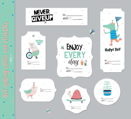 Set Of Birthday Cards, Gift Tags, Labels Templates And Stickers ...