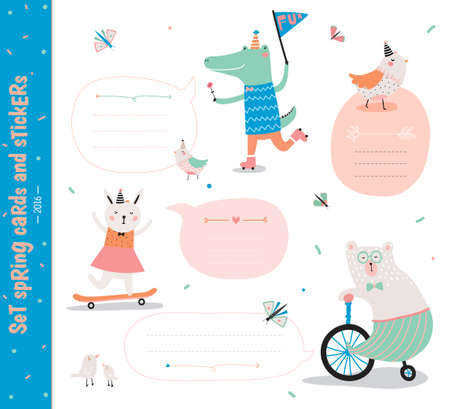 infancia: Conjunto de tarjetas de cumpleaños, etiquetas de regalo, etiquetas de plantillas y pegatinas con animales niños divertidos.