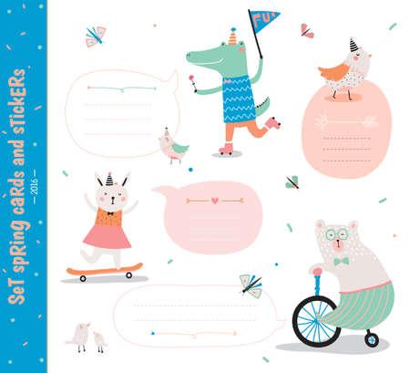 Jeu de cartes d'anniversaire, étiquettes cadeaux, des étiquettes et des autocollants avec des modèles animaux d'enfants drôles. Banque d'images - 58384894